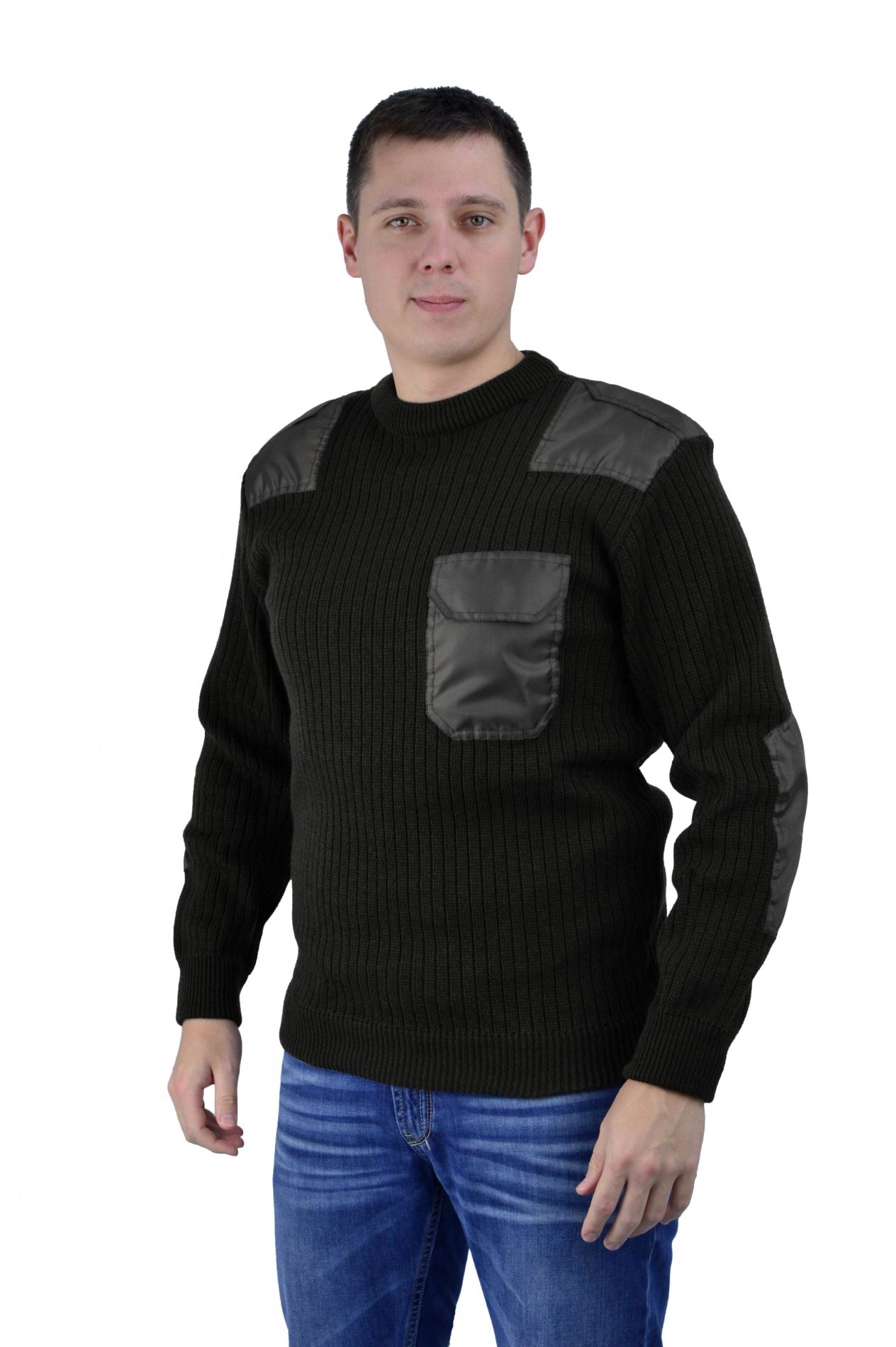 Свитер чёрный с накладками п/ш ворот (U) Свитера<br>Свитер чёрный с усиливающими накладками <br>из прочной ткани в зонах истирания. Состав: <br>п/ш ( состав 70% акрил, 30% шерсть) оптимальное <br>соотношение для поддержания тепла и износостойкости. <br>U-образный ворот удобен для всех видов ношения.<br><br>Пол: мужской<br>Размер: 60<br>Сезон: все сезоны<br>Цвет: черный<br>Материал: шерсть