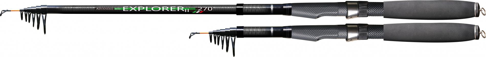 Спиннинг тел. SWD EXPLORER II 2,1м карбон (30-60г)Спинниги<br>Компактный телескопический спиннинг, выполненных <br>из карбона IM6 длинной 2,1м с тестом 30-60г. Отличается <br>малой транспортной длиной, высокой прочностью, <br>небольшим весом и средне-быстрым строем. <br>Комплектуется кольцами SIC. Рекомендуется <br>использовать при ловле хищника, как с берега, <br>так и с лодки.<br>
