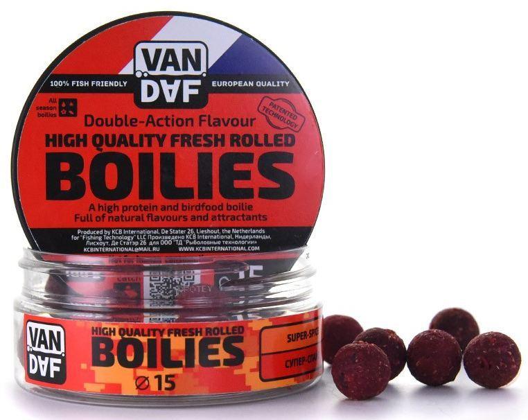 Бойлы VAN DAF Супер-спайс (острый), 15мм, красный, Бойлы<br>Бойлы VAN DAF произведены в Нидерландах в <br>провинции Северный Брабант на современном <br>оборудовании по технологии D.A.F. (Double Action <br>Flavour). Этот способ производства на протяжении <br>многих лет подтверждает высочайшее качество <br>продукции и показывает отличные результаты <br>на рыболовных сессиях. В особенности данной <br>технологии заложена концепция дуализма, <br>суть которой - в уникальной сочетаемости <br>вкуса и аромата в каждом продукте. VAN DAF - <br>двойное воздействие на обонятельно-вкусовые <br>рецепторы каждого карпа. Бойлы VAN DAF - высокопротеиновый <br>продукт, изготовленный из высококачественных <br>ингредиентов с использованием казеината <br>кальция, яичного альбумина, рыбной муки, <br>специй, ореховых и бобовых добавок. Обязательным <br>является применение в рецептах N.H.D.C. подсластителя <br>и масляной кислоты (N-Butyric Acid) - веществами, <br>которые зарекомендовали себя, как наиболее <br>эффективные при ловле карпа. Бойлы VAN DAF <br>показывают высокие результаты на водоемах <br>любого типа и полностью адаптированы к <br>Российским условиям. Подходят как для прикармливания, <br>так и для насадки. Это всесезонный продукт, <br>рассчитанный на ловлю при любой температуре <br>воды на протяжении всего года. Аминокислоты, <br>легко усваиваемые протеины, фруктовые и <br>пряные эфиры, дрожжи и другие сильнодействующие <br>кормовые добавки позволили создать уникальные <br>вкусы и ароматы, стимулирующие рыбу кормиться <br>снова и снова. Размер 15 Цвет Красный Сезон <br>Всесезонные Вес 0.1 кг<br>