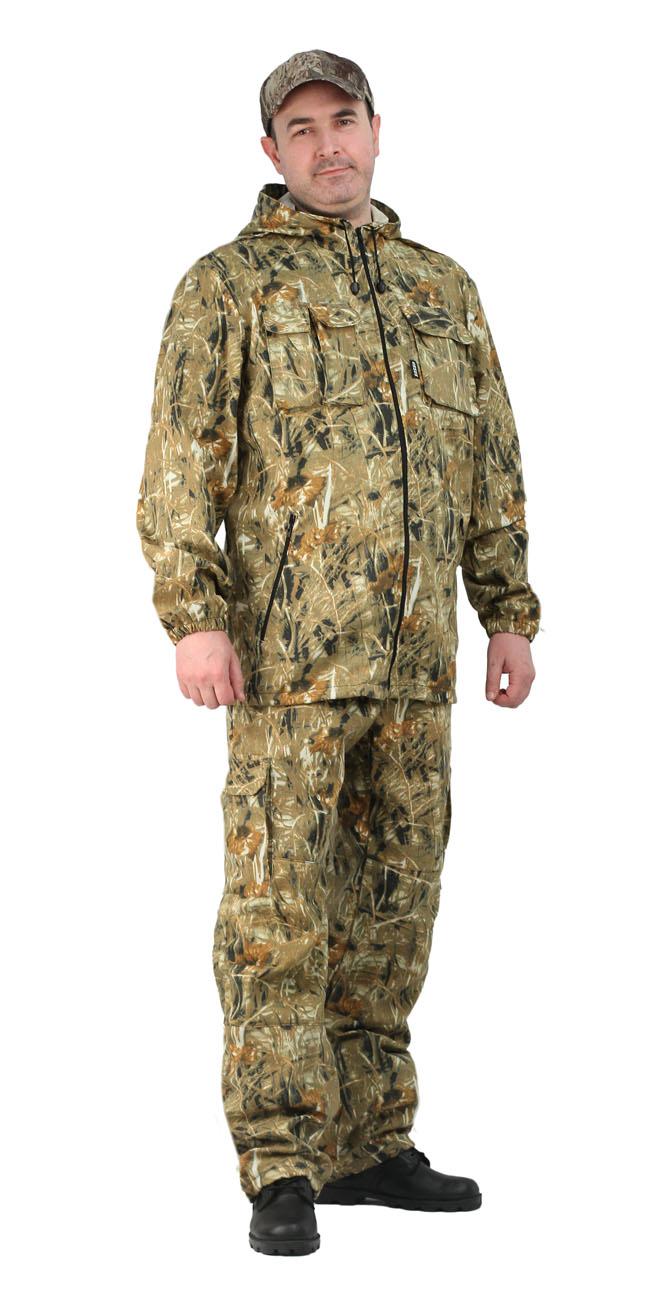 Костюм мужской Турист 2 летний кмф Твилл Костюмы неутепленные<br>Камуфлированный унверсальный летний костюм <br>для охоты, рыбалки и активного отдыха . Состоит <br>из удлинённой куртки с капюшоном и брюк. <br>Куртка: • Регулируемый капюшон. • Центральная <br>застежка молния. • Нагрудные объемные накладные <br>карманы и боковые прорезные карманы на <br>молнии. • Манжеты на резинке. • Для большего <br>комфорта под проймой имеются вентеляционные <br>отверствия Брюки: •Гульфик брюк на молнии. <br>На поясе брюк вставки из эластичной ленты. <br>•Низ штанин регулируется эластичным шнуром. <br>•Удобные объёмные боковые карманы • Фукциональная <br>сумка для хранения костюма.<br><br>Пол: мужской<br>Размер: 44-46<br>Рост: 170-176<br>Сезон: лето<br>Цвет: камыш (фотокамуфляж)<br>Материал: Смесовая (65% полиэфир, 35% хлопок), пл. 210 г/м2,