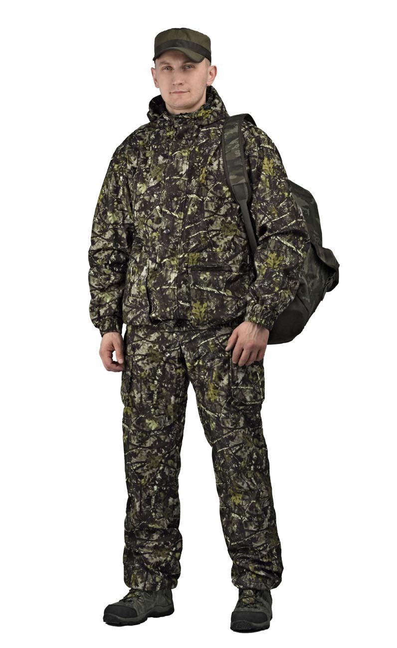 Костюм мужской Турист 2 демисезонный кмф Костюмы неутепленные<br>Камуфлированный универсальный демисезонный <br>костюм для охоты, рыбалки и активного отдыха. <br>Состоит из укороченной куртки с капюшоном <br>и брюк Куртка: • Регулируемый капюшон - <br>воротник на флисе. • Центральная застежка <br>молния закрыта ветрозащитной планкой на <br>кнопках. • Нижние объемные и верхние карманы <br>на молнии, • Низ куртки и манжеты на широкой <br>резинке. Брюки • Высокая спинка с эластичными <br>бретелями • Застежка на молнию. пояс на <br>кнопках. • Два верхних прорезных кармана <br>и два накладных боковых на молнии. • Талия <br>регулируется резинкой. • Низ брюк на резинке.<br><br>Пол: мужской<br>Размер: 52-54<br>Рост: 182-188<br>Сезон: лето<br>Цвет: серый<br>Материал: Алова (100% полиэстер) пл. 225 г/м.кв - трикот.полотно