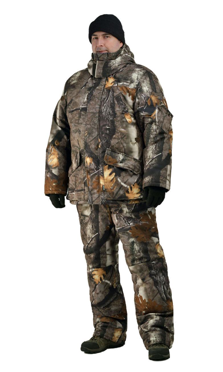 Костюм мужской Nordwig Буран зимний кмф т.Алова Костюмы утепленные<br>Камуфлированный универсальный костюм <br>для охоты, рыбалки и активного отдыха при <br>низких температурах. Не шуршит. Состоит <br>из удлинненной куртки с капюшоном и полукомбинезона. <br>Куртка: • Отстегивающийся и регулируемый <br>капюшон. • Центральная застежка молния <br>с ветрозащитной планкой и контактной лентой. <br>• Прорезные нагрудные карманы • Нижние <br>накладные карманы полупортфель, антивор <br>• Внутренние трикотажные манжеты- напульсники <br>Отделка из флиса: спинка и полочкка куртки, <br>капюшон, стойка воротника, подкладка нижний <br>карманов. В рукавах подкладка 100% полиэстер. <br>Полукомбинезон: • Закрывает грудь и спину. <br>• Застежка с двухзамковой молнией. • Боковые <br>карманы полупортфель. • Бретели регулируемые. <br>• Талия регулируется резинкой • Наколенники <br>с отверстиями для амортизационных накладок. <br>Подкладка: 100% полиэстер Синтепон 100г/м2 - <br>4 слоя в куртке, 3 слоя в полукомбинезоне.<br><br>Пол: мужской<br>Размер: 52-54<br>Рост: 182-188<br>Сезон: зима<br>Цвет: коричневый<br>Материал: Алова 100% полиэстер
