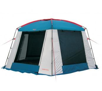 Тент SUMMER HOUSE (цвет royal) со стальными стойкамиТенты<br>Canadian Camper Summer House - один из самых больших <br>и комфортных тентов-шатров на outdoor рынке. <br>Стенки из москитной сетки защищены от дождя <br>убирающимися в случае необходимости шторами. <br>Широкая ветрозащитная юбка. Прочный стальной <br>каркас в форме шестигранника, способен <br>выдерживать сильные ветровые нагрузки. <br>Дополнительный комфорт обеспечивает верхнее <br>вентиляционное окно. ТЕХНИЧЕСКИЕ ХАРАКТЕРИСТИКИ: <br>Материал тента: Polyester 75D PU / Polyester 420D PU Водонепроницаемость: <br>3.000 мм Каркас: сталь Вес: 12 кг<br><br>Сезон: лето
