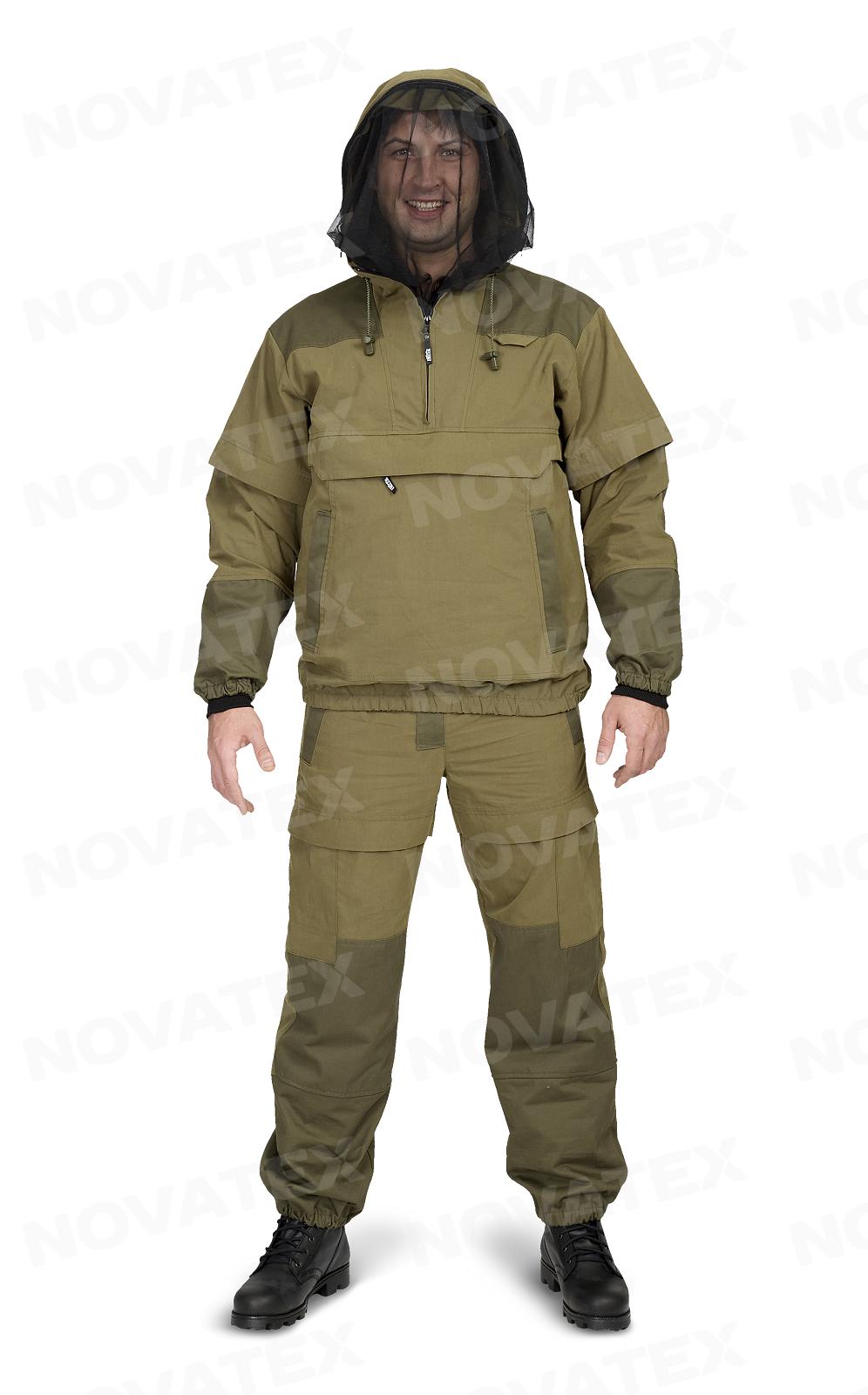 Костюм «Элит Барьер» (смесовая, хаки) PAYERКостюмы противоэнцефалитные<br>Ткань: смесовая ткань (70% хлопок, 30% нейлон) <br>Костюм «Элит-Барьер»(ТМ «Payer») от Novatex <br>разработан на основе классического противоэнцефалитного <br>костюма.Этот костюм состоит из куртки <br>типа «анорак» с капюшоном и брюк прямого <br>кроя. Костюм оснащен специальными ловушками <br>для клещей. В отличие от других костюмов, <br>обладает множеством защитных кулис и ловушек <br>с вставками под пропитку акарицидными средствами. <br>Сама ткань, из которой производится костюм, <br>пропитана акарицидным средством и не теряет <br>защитных свойств как минимум 10 стирок. Сетка <br>накомарника съемная и легко убирается в <br>потайной карман. Плотная однотонная ткань(70% <br>хлопок, 30% нейлон) создает надежную защиту, <br>позволяет телу «дышать» и повышает шансы <br>своевременного обнаружения насекомых. <br>Рукава оснащены плотными трикотажными <br>манжетами. Область коленей усилена дополнительным <br>слоем ткани. Этот костюм отлично подойдет <br>для всех, кто много бывает в лесу.<br><br>Пол: мужской<br>Размер: 44-46<br>Рост: 170-176<br>Сезон: лето<br>Цвет: оливковый