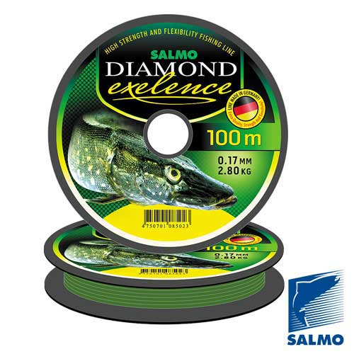 Леска Монофильная Salmo Diamond Exelence 150/025Леска монофильная<br>Леска моно. Salmo Diamond EXELENCE 150/025 дл.150м/диам.0.25мм/тест <br>5.50кг/кол.в уп.10 Современная мягкая и прочная <br>монофильная леска. Эта леска изготовлена <br>с высоким качеством поверхности и калиброванным <br>по всей длине диаметром, она устойчива к <br>истираниюо подводные препятствия – водоросли, <br>камни или край лунки. Леска достаточно эластична <br>– способна погасить самые отчаянные рывки <br>пойманной рыбы. Для создания маскировочного <br>эффекта леска окрашена в светло-зеленый <br>цвет. • высокая прочность • повышенная <br>износостойкость • калиброванная и гладкая <br>поверхность • мягкость • низкая остаточная <br>«память» • светло-зеленый цвет Примечание: <br>Леска Diamond Exelence поступает на продажу в Россию <br>только на круглых пластиковых шпулях, а <br>в страны Балтии, Украину и республику Беларусь <br>– только на 8-угольных шпулях.<br><br>Сезон: все сезоны<br>Цвет: зеленый