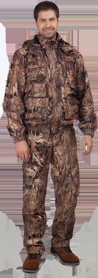 Костюм мужской Тростник демисезонный, Костюмы неутепленные<br>Универсальный костюм из мембранной ткани. <br>Отлично подойдёт охотникам и любителям <br>активного отдыха. Ткань верха дышащая <br>не шуршащая. Большое количество карманов <br>позволяет комфортно расположить необходимые <br>предметы в удобной доступности. Куртка: <br>• застежка на тесьму-молнию с ветрозащитным <br>клапаном • объемные накладные карманы <br>под патроны, телефон, рацию, нижние накладные <br>карманы с двумя входами (верхним и боковым), <br>клапаны карманов застегиваются на ленту-контакт <br>• капюшон съемный с москитной сеткой по <br>лицевому вырезу, регулировкой по объему <br>и высоте • вставки из сетки для дополнительного <br>воздухообмена в области нижней части проймы <br>• низ рукавов на манжете с эластичной резинкой <br>Брюки: • на поясе, с эластичными вставками <br>по бокам, шлевками • застежка - гульф на <br>тесьму-молнию • боковые прорезные и накладные <br>объемные карманы с клапанами по боковым <br>швам • отстегивающаяся спинка с бретелями <br>• наколенники • внутренний чулок понизу <br>брюк для защиты от насекомых и грязи Куртка <br>и брюки на подкладке из трикотажной сетки. <br>Ткань верха: Алова с мембраной Состав: 100% <br>П/Э Подкладка: 100% П/Э Цвет: КМФ тростник<br><br>Размер: 60-62<br>Рост: 182-188<br>Сезон: демисезонный