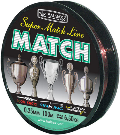 Леска BALSAX Match 100м 0,25 (6,5кг)Леска монофильная<br>Леска Match - леска специально расчитанна <br>и спроектированна для спортивной ловли <br>на поплавочную удочку.<br><br>Сезон: лето