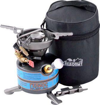 Горелка на жидком топливе СЛЕДОПЫТ ГелиосГорелки<br>Жидко-топливная плита «СЛЕДОПЫТ - Гелиос» <br>является оптимальным вариантом для путешественников, <br>которые отправляются в путь на машине, мотоцикле <br>или велосипеде. Фактически, для своей работы, <br>эта плита может использовать любое доступное <br>жидкое топливо, будь то бензин (различных <br>фракций), керосин или дизельное топливо. <br>Плита имеет увеличенный бак объемом 450 мл <br>и может работать на одной заправке до 2,5 <br>часов. Четырех лучевая конструкция опорных <br>ножек варочной поверхности обеспечивают <br>устойчивость для посуды больших диаметров. <br>В конструкции плиты предусмотрена усовершенствованная <br>система очистки топливных каналов, которая <br>позволяет производить очистку без дополнительного <br>разбора прибора. В комплекте с плитой поставляется <br>многофункциональный ключ (для разборки <br>и чистки), а также тканый чехол для транспортировки <br>и хранения. Для удобства заправки плиты <br>топливом в комплекте поставляется удобная <br>воронка. Плита может быть использована <br>повсеместно и в различных климатических <br>зонах на кемпинге, рыбалке, охоте, а также <br>может быть установлена в дачных или охотничьих <br>домиках, на малых или средних плав. средствах. <br>Плита рассчитана на использование в группах <br>из расчета на 6-8 человек. Мощность горелки <br>плиты: 2,2 кВт Диаметр горелки плиты: 45 мм <br>Расход топлива: 208 гр Вес плиты: 565 гр Объем <br>топливного бака: 450 мл Размер в разложенном <br>виде: диаметр 186 мм высота 173 мм Размер в <br>походном положении: диаметр 120 мм высота <br>168 мм Макс. диаметр используемой посуды: <br>до 25 см Максимальная вертикальная нагрузка: <br>25 кг (25 л воды)<br>
