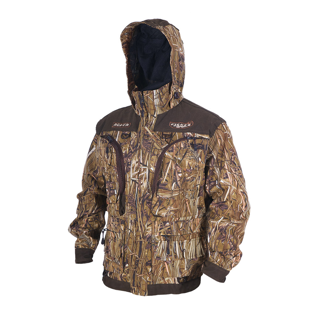 Куртка ХСН «Ровер-рыбак» (9791-7) (Осока, 50 Куртки неутепленные<br>Идеально подойдет любителям рыбалки и <br>активного отдыха. Куртка изготовлена из <br>специального материала с содержанием хлопка, <br>который не шуршит при движении. Ткань обработана <br>водоотталкивающей тефлоновой пропиткой <br>для защиты от влаги. Особенности: - регулируемый <br>несъемный капюшон с противомоскитной сеткой; <br>- 10 шт. объемных карманов, в том числе под <br>рыболовные коробки; - особый крой рукавов, <br>обеспечивающий свободу движения; - манжеты <br>на пуговицах с возможностью регулировки <br>ширины; - специальная усиленная ткань на <br>плечах; - двойной джинсовый запошивочный <br>шов.<br><br>Пол: мужской<br>Размер: 50 - 52 / 182<br>Сезон: лето<br>Цвет: коричневый<br>Материал: Хлопкополиэфирная ткань
