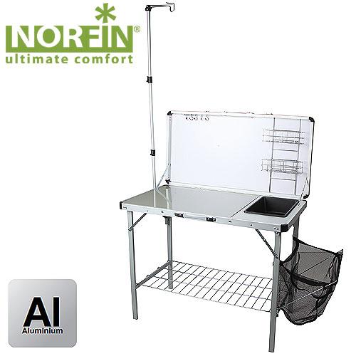 Стол-Кухня Складная Norfin Feren Nfl С РаковинойСтолы<br>Просторная рабочая поверхность с минимойкой, <br>полками для посуды и рейлингом с крючками <br>для подвески столовых приборов. Корзина <br>для сбора мусора, кронштейн для крепления <br>лампы. Комплектуется сумкой-чехлом для <br>удобства транспортировки. Особенности: <br>- габариты 100x50x76,5/126 см; - размер в сложенном <br>виде (см) 10,5x14x55 см; - максимальная нагрузка <br>30 кг; - каркас алюминий 30x15x1,2 мм;<br><br>Сезон: все сезоны<br>Материал: МДФ