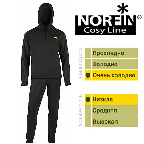 Термобелье Norfin Cosy Line B (L, 3007103-L)Комплекты термобелья<br>Термобелье Norfin COSY LINE B 01 р.S разм.S/кофта, <br>штаны/мат.полиэстер/цв.черн./темп.оч.холодно/акт.низкая. <br>Термобелье NORFIN COSY LINE. Нижнее толстое раздельное <br>термобелье. Мягкий, легкий и «дышащий»- <br>материал обеспечивает комфортные условия <br>для тела при пониженных температурах. Согласно <br>послойной концепции Norfin является термобельем <br>2-го слоя и одевается на тонкое термобелье. <br>После интенсивной работы или продолжительного <br>передвижения, испарине достаточно 15 – 20 <br>минут для «выхода» наружу, при условии, <br>что верхняя одежда – мембрана. Тело становится <br>сухим и не замерзнет на холоде. Поэтому, <br>под термобелье ни в коем случае не поддевается <br>хлопчатобумажная нижняя одежда, которая <br>впитывает влагу и остается влажной длительное <br>время. Изготавливается двух расцветок. <br>ТЕРМОБЕЛЬЕ: Капюшон крепится к кофте на <br>кнопках. Фиксатор, стягивающий капюшон. <br>Надежная застежка-молния. Эластичный пояс. <br>Эластичные манжеты на рукавах и штанах. <br>Материал: ПОЛИЭСТЕР.<br><br>Пол: мужской<br>Размер: L<br>Сезон: зима
