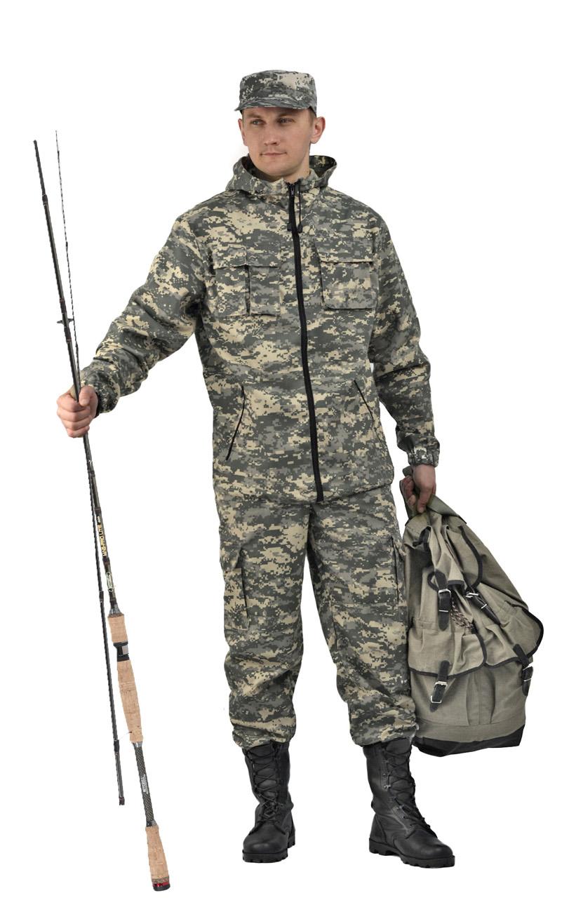 Костюм мужской Турист 2 летний URSUS кмф Костюмы неутепленные<br>Камуфлированный универсальный летний <br>костюм для охоты, рыбалки и активного отдыха <br>. Состоит из удлинённой куртки с капюшоном <br>и брюк. Куртка: • Регулируемый капюшон. <br>• Центральная застежка молния. • Нагрудные <br>объемные накладные карманы и боковые прорезные <br>карманы на молнии. • Манжеты на резинке. <br>• Для большего комфорта под проймой имеются <br>вентиляционные отверстия Брюки: •Гульфик <br>брюк на молнии. На поясе брюк вставки из <br>эластичной ленты. •Низ штанин регулируется <br>эластичным шнуром. •Удобные объёмные боковые <br>карманы • Фукциональная сумка для хранения <br>костюма.<br><br>Пол: мужской<br>Размер: 48-50<br>Рост: 182-188<br>Сезон: лето<br>Цвет: св. серая цифра (фотокамуфляж)<br>Материал: Смесовая (65% полиэфир, 35% хлопок), пл. 210 г/м2,