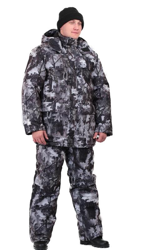 Костюм мужской Вепрь зимний кмф алова Костюмы утепленные<br>Камуфлированный универсальный костюм <br>для охоты, рыбалки и активного отдыха при <br>низких температурах. Состоит из удлиненной <br>куртки и полукомбинезона. Куртка: • Центральная <br>застежка на молнии с ветрозащитной планкой <br>на кнопках. • Отстегивающийся и регулируемый <br>капюшон. • Регулируемая кулиса по линии <br>талии. • Нижние и верхние многофункциональные <br>накладные карманы с клапанами на контактной <br>ленте и на молнии. • Усиление в области <br>локтей. • Трикотажные манжеты по низу рукавов. <br>Полукомбинезон: • Высокая грудка и спинка. <br>• Центральная застежка на молнию. • Талия <br>регулируется эластичной лентой. • Регулируемые <br>бретели, • Верхние боковые карманы<br><br>Пол: мужской<br>Размер: 52-54<br>Рост: 170-176<br>Сезон: зима<br>Цвет: серый<br>Материал: Алова 100% полиэстер