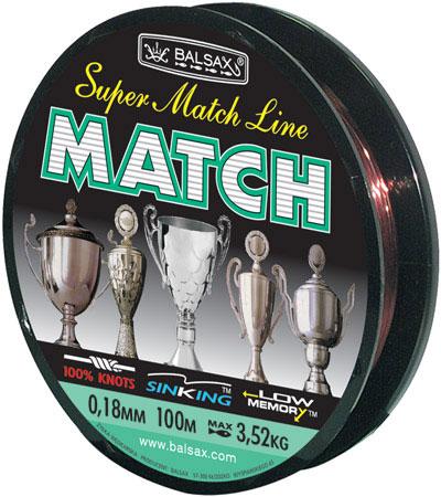 Леска BALSAX Match 100м 0,18 (3,52кг)Леска монофильная<br>Леска Match - леска специально расчитанна <br>и спроектированна для спортивной ловли <br>на поплавочную удочку.<br><br>Сезон: лето